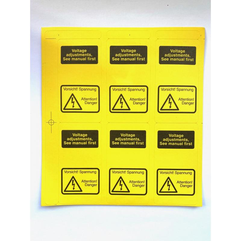 6x Stickers Geel Waarschuwing Voltage...