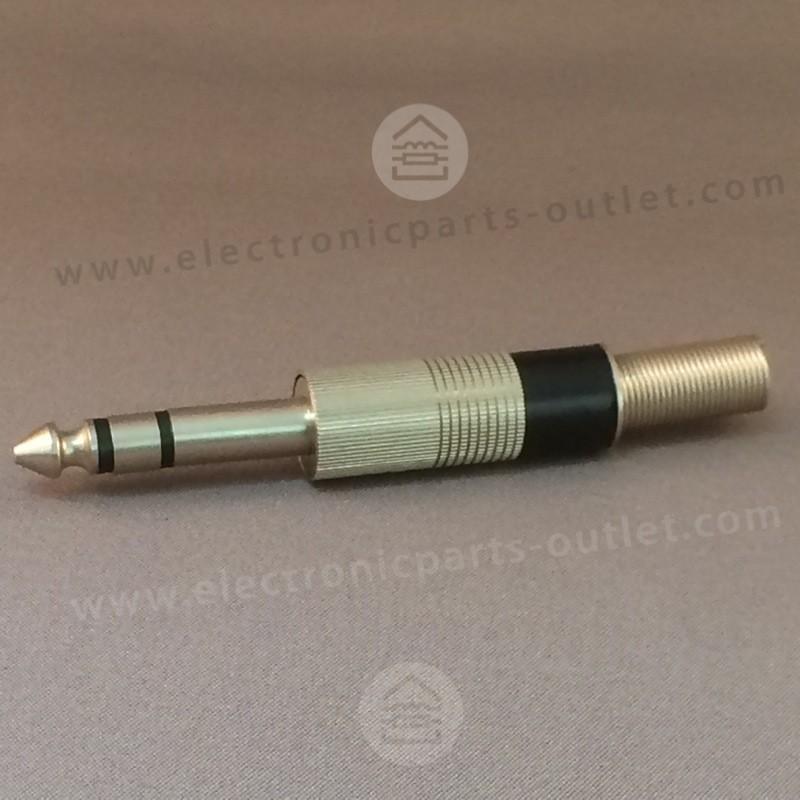 Jack 6,3mm stereo plug male black
